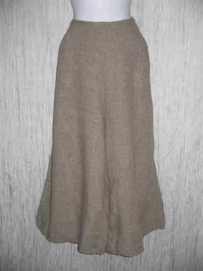 Jeanne Engelhart FLAX Gray LINEN Wide Leg Gauchos Pants Medium M
