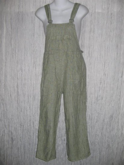 Jeanne Engelhart FLAX Green Grid Cropped LINEN Overalls Petite P