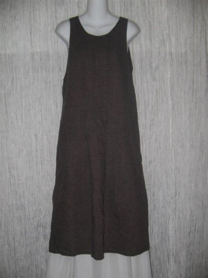 FLAX by Angelheart Muted Berry Stripe LINEN Jump Dress Medium M