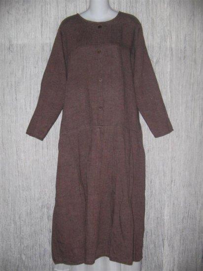 FLAX by Angelheart Twilight Berry LINEN Drop Waist Dress Medium M
