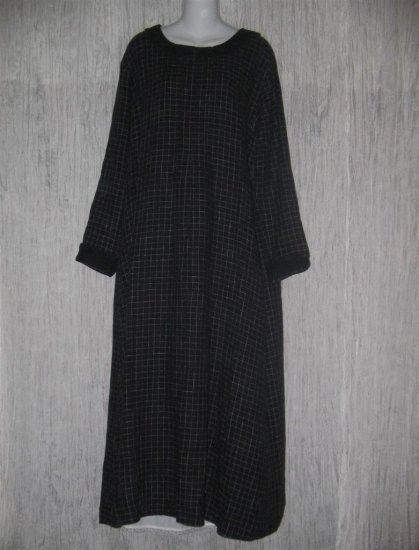 FLAX by Jeanne Engelhart Black LINEN Grid Dress Large L