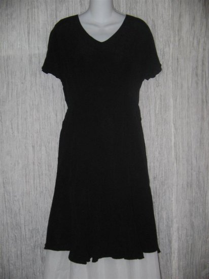 FLAX by Jeanne Engelhart Shapely Black Rayon Dress Small S