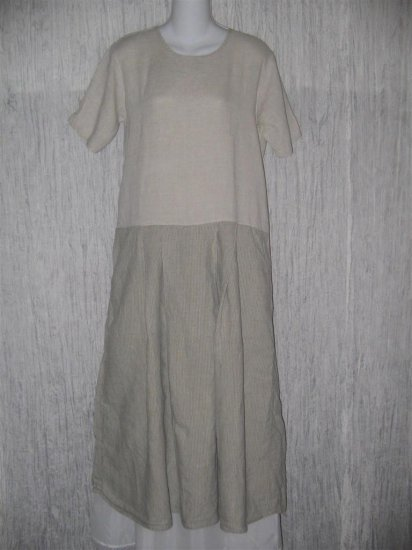 FLAX by Angelheart LINEN Box Pleat Dress J. Engelhart Small S