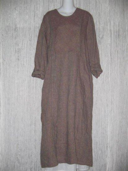 FLAX by Jeanne Engelhart Earthy LINEN Crossweave Dress Medium M