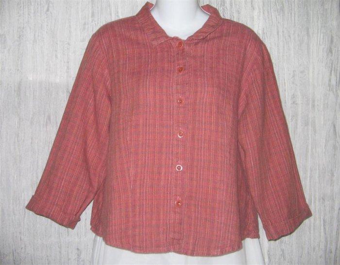 FLAX Shapely LINEN Button Shirt Top Jeanne Engelhart Small S