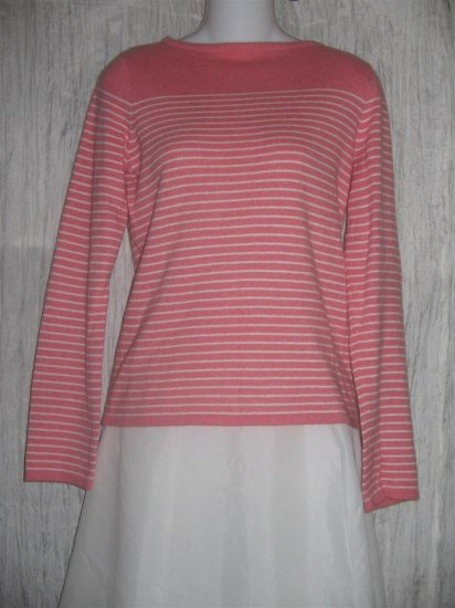 J. Crew Soft Pink Striped Cotton Cashmere Knit Pullover Sweater Top Medium M