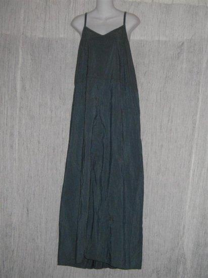 Jeanne Engelhart FLAX Long Blue Gray Silk Slip Dress Large L