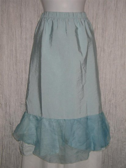 New Jackie Loves John Art to Wear Blue Silk Layered Hem Skirt Large L