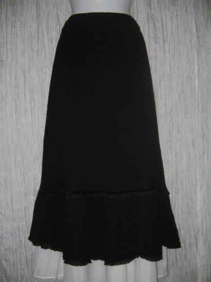 NWT APRIL CORNELL Long Soft Black Ribbon Trim Knit Skirt Large L