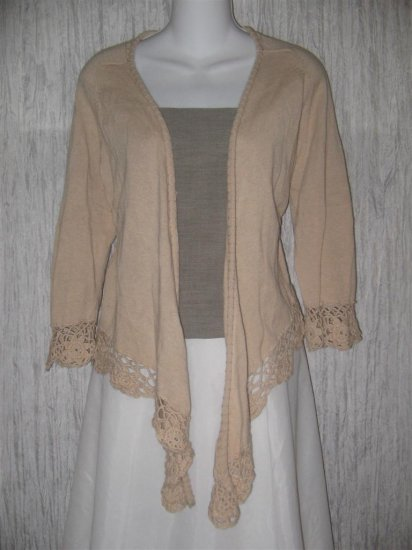 Coldwater Creek Open Ecru Lace Cardigan Sweater Large L