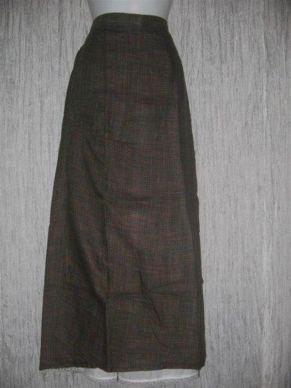 FLAX by Jeanne Engelhart Earthy Plaid Linen Faux Wrap Skirt Large L