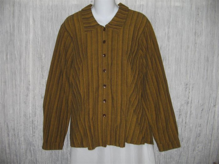 Jeanne Engelhart FLAX Shapely Gold Button Shirt Tunic Top Small S