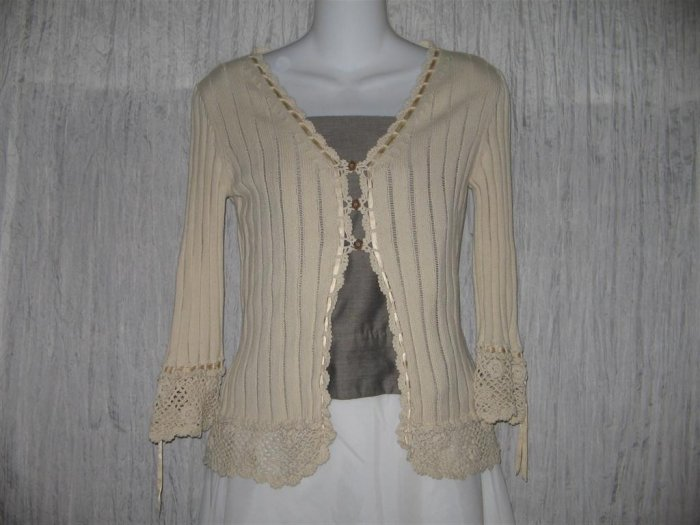 Nanette Lepore Shapely Ecru Ribbon Lace Cardigan Sweater Small S