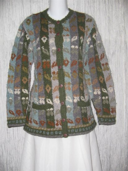 NAN HADDEN Art to Wear Wool Hand knit Cardigan Sweater Large L