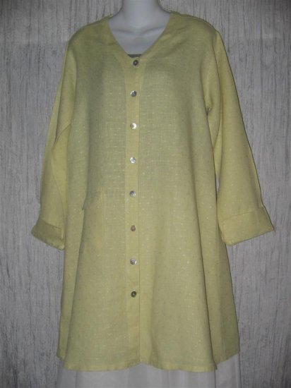 FLAX Long Green Linen Button Tunic Top Jacket Jeanne Engelhart Small S