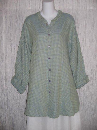 Jeanne Engelhart FLAX Blue Green Linen Button Tunic Top Shirt Large L