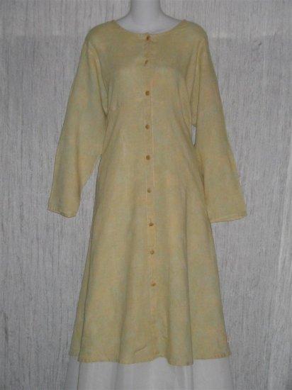 Flax by Jeanne Engelhart Shapely LINEN Duster Dress Coat Jacket Medium M