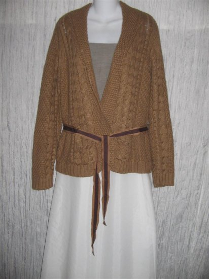 Talbots Shapely Brown Belted Cardigan Sweater Jacket Large L