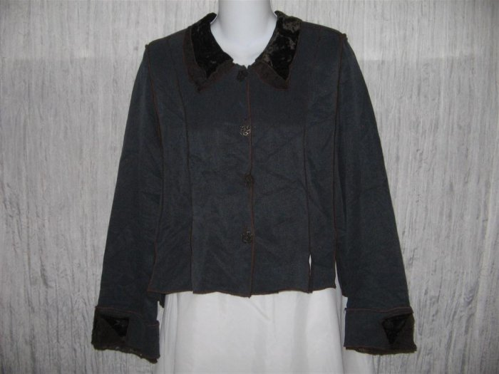 NEIL & DAVID Jewel Blue Velvet & Lace Trim Shapely Jacket Large L