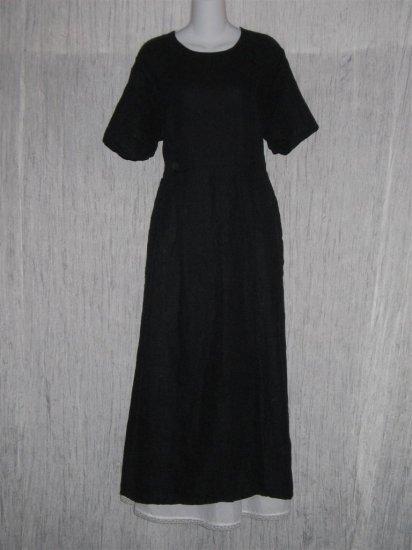 FLAX by Jeanne Engelhart Black LINEN Sailor Dress Large L