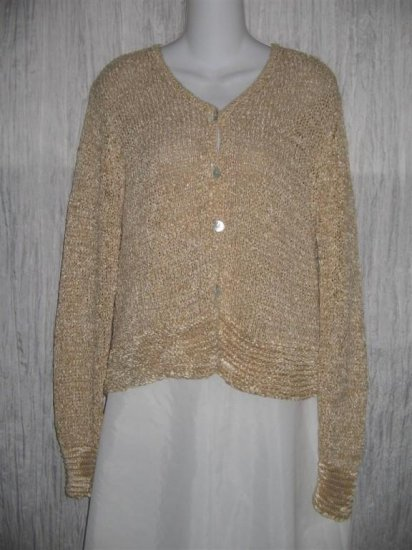 KINDRED SPIRIT Soft Tan Button Cardigan Shirt Top Medium M