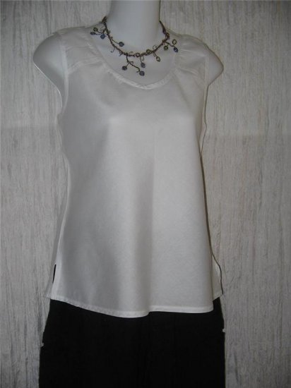 SOLITAIRE White Cotton Shell Tank Top Shirt Medium M