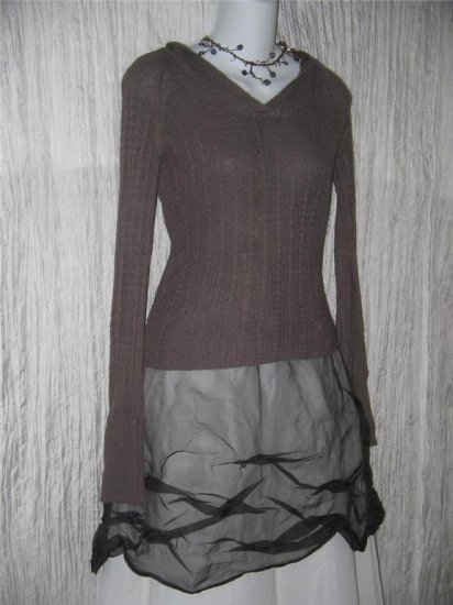 TRF Knitwear Soft Chocolate Brown Angora Blend Hooded Tunic Sweater Small S
