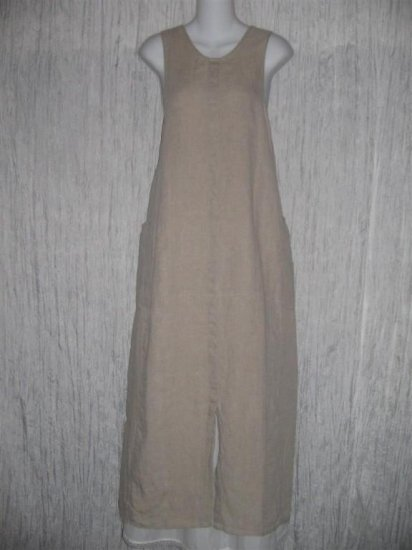 FLAX by Jeanne Engelhart Long Earthy LINEN Jump Dress Medium M