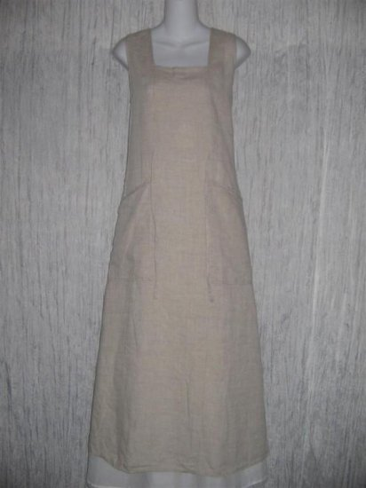 FLAX by Jeanne Engelhart Long LINEN Tied Waist Dress MEDIUM M