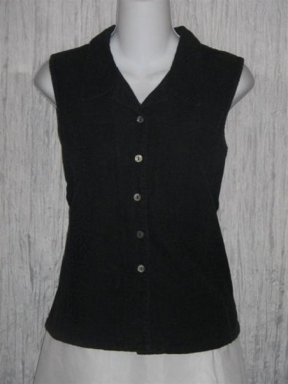 Putumayo Soft Black Cotton Button Shirt Top Medium M