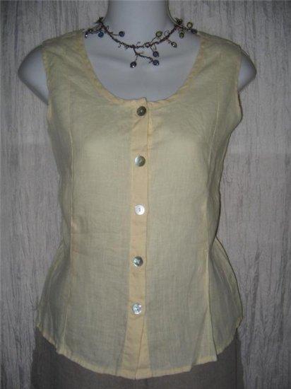FLAX Yellow Linen Button Shell Tank Top Shirt Jeanne Engelhart Small S