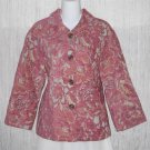 New J. Jill Boxy Fuchsia Floral Chenille Tapestry Jacket Coat Medium M