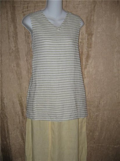 FLAX by Jeanne Engelhart Seersucker Stripe Linen Tank Top Shirt Small S