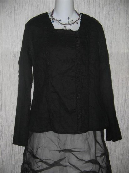 FLAX by Jeanne Engelhart Shapely Reversible Black Jacket Tunic Top Medium M