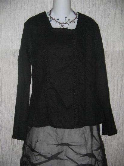 FLAX by Jeanne Engelhart Shapely Reversible Black Jacket Tunic Top Medium M