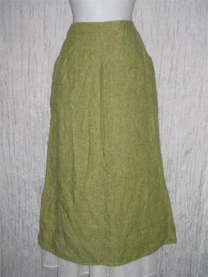 New FLAX Long Green Tweed Linen Pocket Skirt Jeanne Engelhart Small S