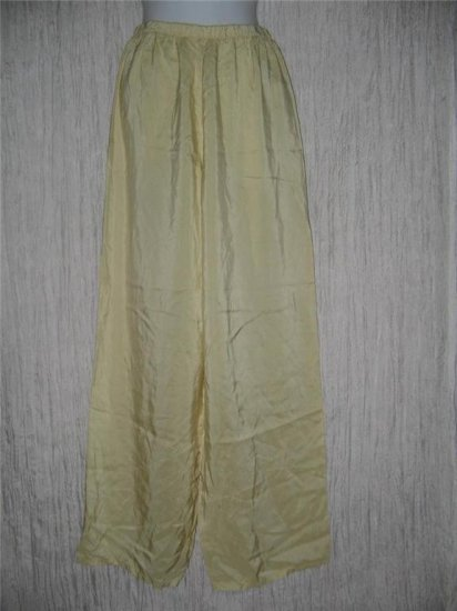 New JACKIE LOVES JOHN Butter Cream Silk Wide Leg Pants Medium M