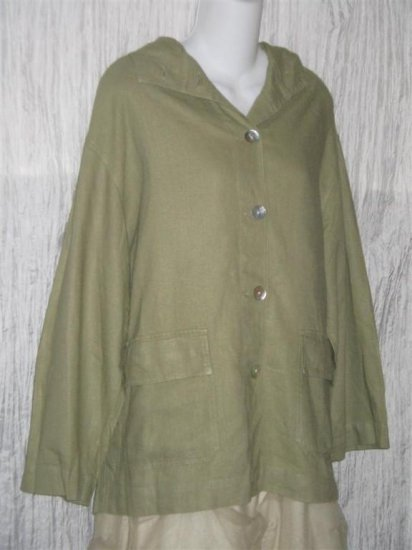 Chico's Design Green Linen Hooded JACKET Size 1 Small S Medium M