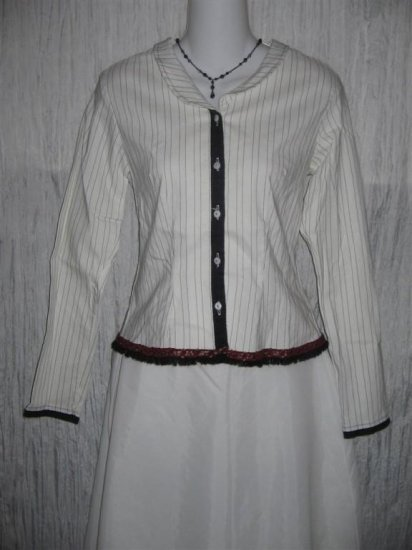 NEESH by D.A.R. Shapely Pin Striped Button Shirt Top Small S