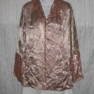 New NATAYA Mauve Embroidered Velvet Button Tunic Jacket Shirt Top Large L
