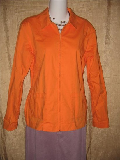 EILEEN FISHER Orange Cotton Zipper Jacket Coat Small S