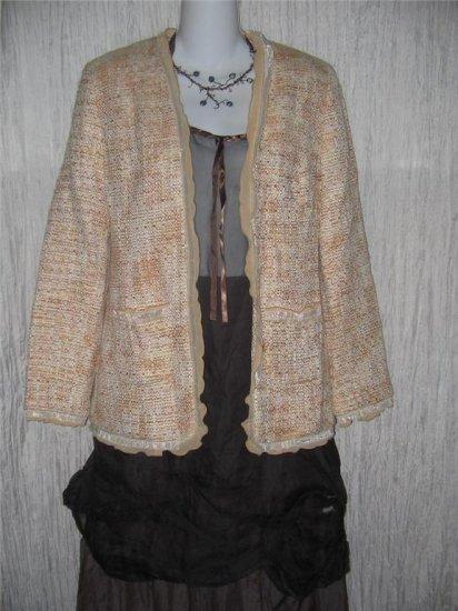 Valerie Stevens Soft Beige Tweed Ruffle Trimmed Jacket 4