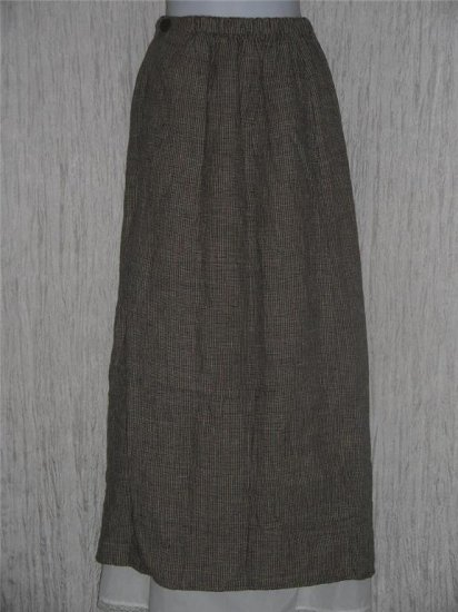 FLAX by Jeanne Engelhart Assymetrical Gingham LINEN Skirt Small S