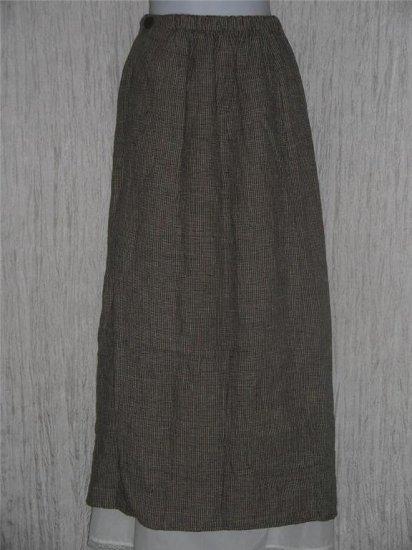 FLAX by Jeanne Engelhart Assymetrical Gingham LINEN Skirt Small S