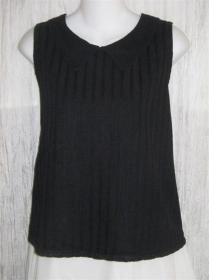LIV Black Collared Sleeveless Tunic Top Pullover Shirt Medium M