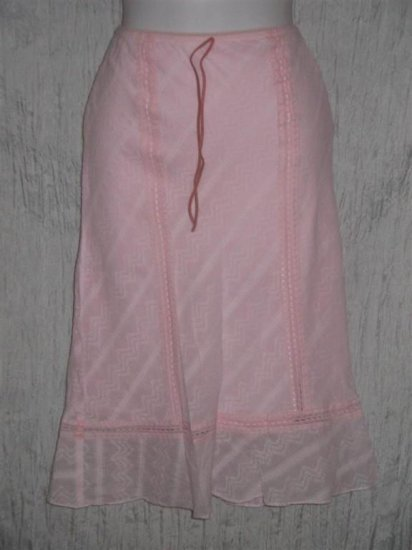 ZERO ZERO Fluttery PINK COTTON Lined Knee SKIRT Small S