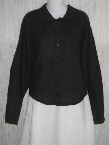 FLAX Black LINEN Button Shirt Tunic Top Jeanne Engelhart Small S