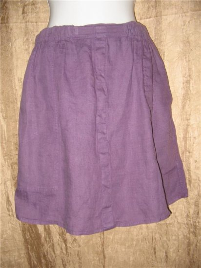 FLAX by Jeanne Engelhart Short Purple LINEN Skirt Large L