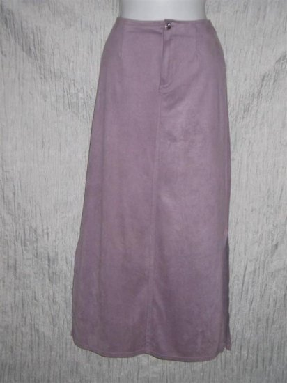 J. Jill Long Shapely Purple Sueded Velvet Skirt Size 8