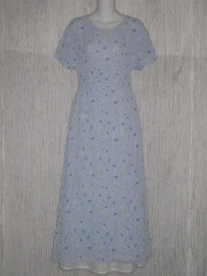 Putumayo Long Blue Shapely Floral Weave Dress Large L